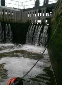 Inside Keadby Lock.